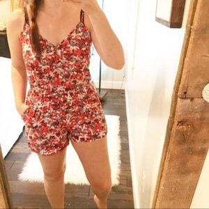 Banana Republic Floral Romper With Pockets S